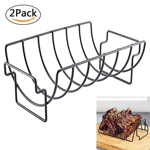 Aolvo Rib Rack, Non-Stick Reversible Roast Roasting Rack Outdoor Indoor Grill Rack for Charcoal Grills Smokers Grilling Barbecuing 2 Pack by Aolvo