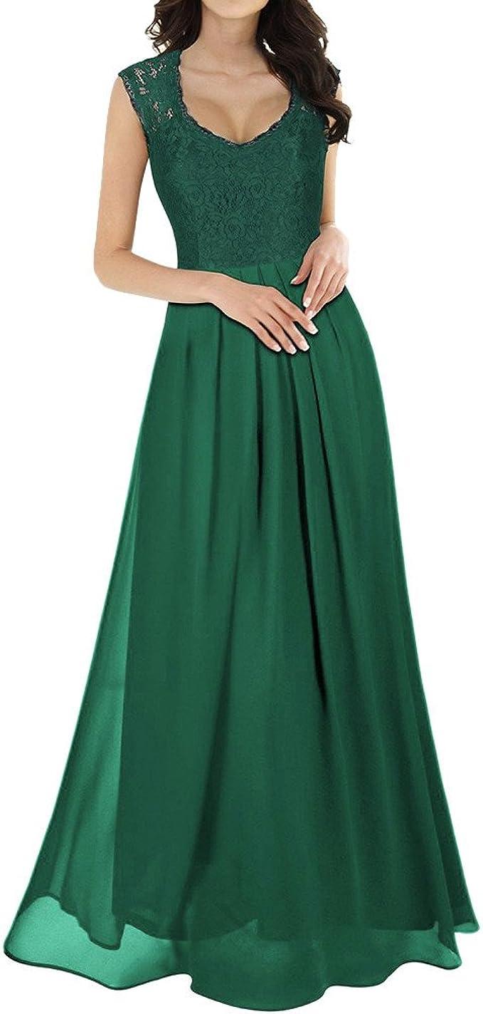 Likecrazy Lang Maxi Kleid Damen Frauen Chiffon Abendkleid Tief V