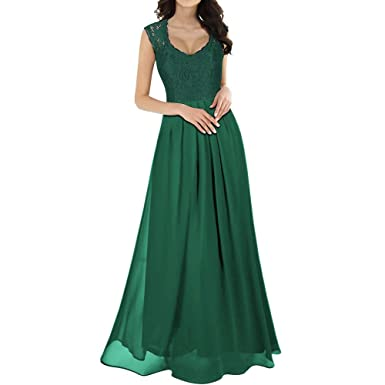 0f2852eea1f PRINCER Women Floral Lace Vintage Elegant Dress Chiffon Long Maxi Dress  Bridesmaid Evening Party Ball Formal Gown Loose Casual Dress Green   Amazon.co.uk  ...