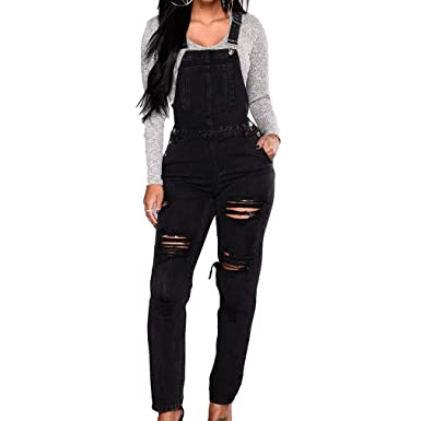 839c70c36ad8 Women s Dungarees Casual Denim Trousers Washed Jeans Ladies Slim Straight  Leg Pants Overalls Bib Long Length