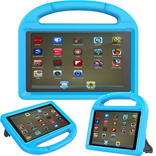 AVAWO Kids Case for Fire HD 8 Tablet (7th/8th Generation 2017/2018 Release) - Kid-Proof Case with Stand Anti Slip Shockproof Light Weight Protective Case, Blue