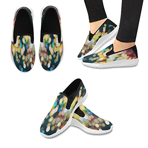 InterestPrint Abstract Christmas Light Womens Slip-On Loafer Shoes Canvas Fashion Sneakers Multi 1 25qlS4GY3g