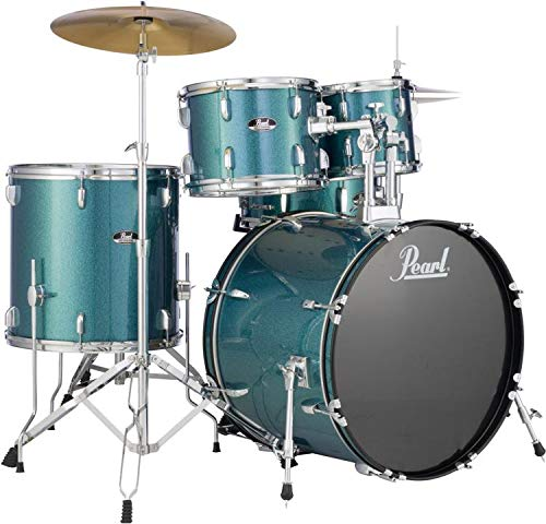 "Pearl Roadshow 5-piece Complete Drum Set with Cymbals - 22"" Kick - Aqua Blue Glitter"