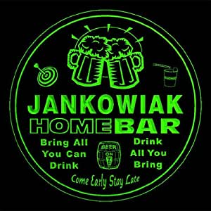 4x ccq21903-g JANKOWIAK Family Name Home Bar Pub Beer Club Gift 3D Engraved Coasters