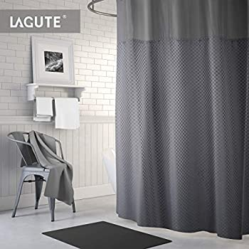 Lagute Translucent See Through Window Waterproof And Anti Mold Polyester Bathtub SnapHook Hookless Shower Curtain W Snap In Liner Grey