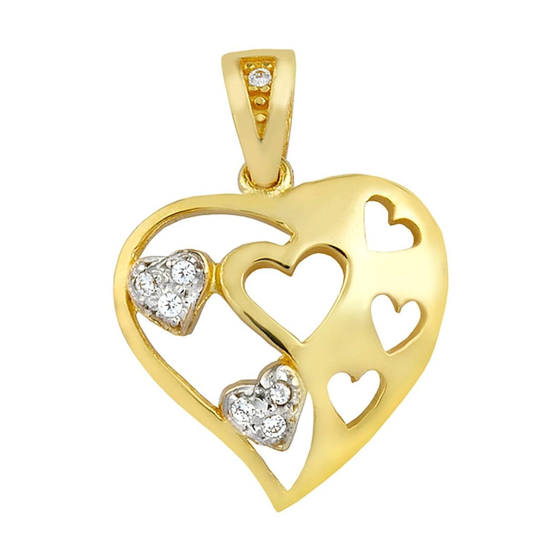Goldkette damen herz  aion Collier Massiv Gold 585 Gold Kette mit Anhänger Herz Gelbgold ...