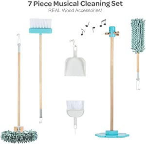 Adora Pretend Play Musical Cleaning Set, 7 Pieces, Educational Toy for Kids - Music Component Stand, Broom, Sweeper, Dust Pan & Brush Set & Duster