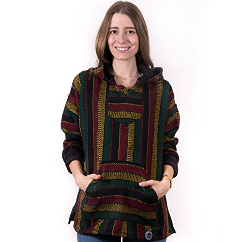 (Orizaba Original Baja Hoodie - Black Red Yellow Green Rasta Zigzag - San Hipolito XL )