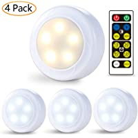 4-Pack Litake Wireless LED Puck Battery Powered Closet Lights with Remote Control