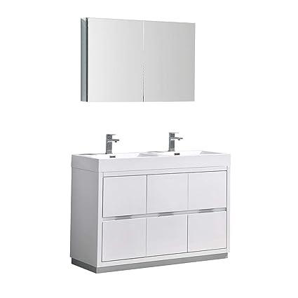 Fresca Valencia 48u0026quot; Glossy White Free Standing Double Sink Modern  Bathroom Vanity W/ Medicine