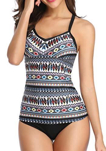 Yonique Women Tankini Set Tribal Swimsuits Two Piece Bathing Suits Swimwear Tribal L