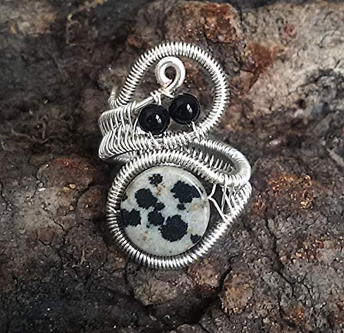 Dalmatian jasper and black onyx Silver ring for women, Wire wrapped handmade, Adjustable ring ()