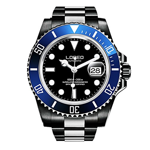 - LOREO Mens GMT Black Stainless Steel Sapphire Blue Rotating Bezel Black dial Automatic Watch