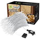 LE LED Window Curtain Icicle Lights, 306 LED, 9.8ft x 9.8ft, 8 Modes, String Fairy Light, Warm White, String Light for Christmas/Halloween/Wedding/Party Backdrops, UL Listed