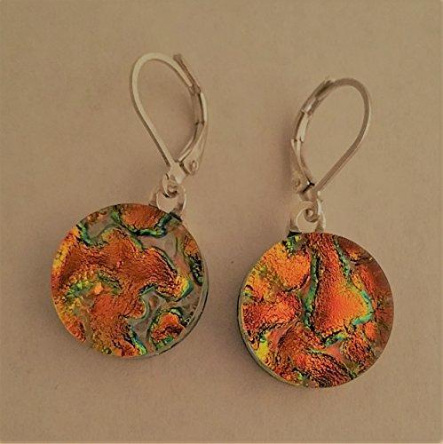 (18mm Round Orange/Green Dichroic earrings)