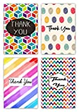 Greetingles Pack of 16 Various Geometric Shape Design Thank-You Cards & Envelopes Polka dot, rainbow stripe, etc
