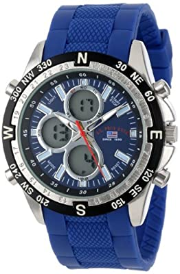 U.S. Polo Assn. Sport Men's US9137 Blue Silicone Analog Digital Watch