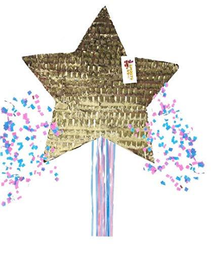 APINATA4U Gender Reveal Star Pinata Traditional Whack & Pull Strings Style Gold Color by APINATA4U (Image #3)