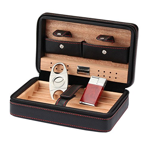 CiTree Cigar Humidor, Cigar Case, Cedar Wood Travel Portable Leather Cigar Humidor with Humidifier Leather Humidor