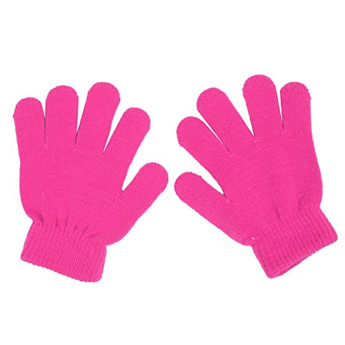 LAYs Girls Boys Gloves Knit Candy Color Mittens with Fingers Warm Soft for Autumn Winter