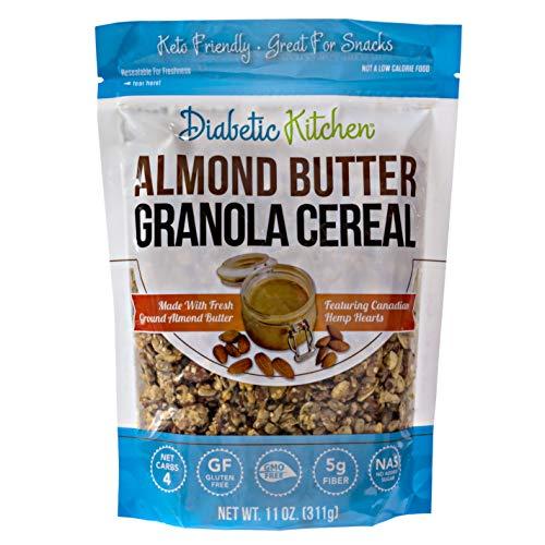Diabetic Kitchen Almond Butter Keto Granola Cereal - 4g Net Carbs, No Sugar Added, Keto Friendly, Low Carb, Gluten-Free, High Fiber, Non-GMO, No Artificial Sweeteners or Sugar Alcohols Ever (11 oz) 1
