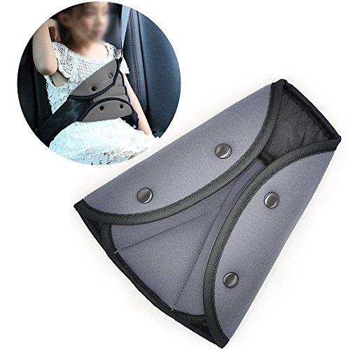 Seat Belt Adjuster, Jelanry Safety Car Belt Adjuster Seatbelt Positioner Soft Protective Belt Adjuster Easy Installation On All Vehicle Seat Belts Protection and Safety for Kids Grey