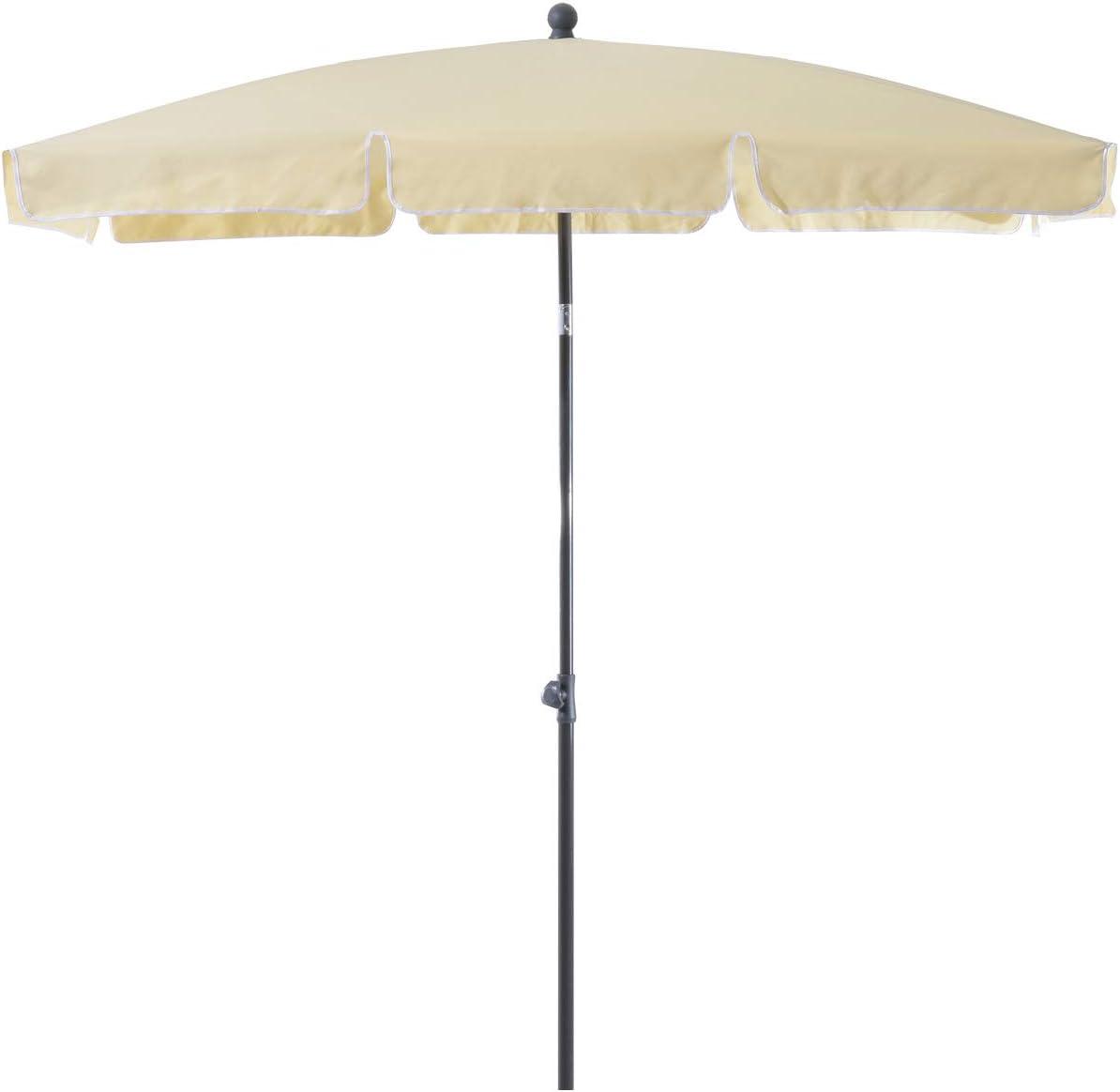 Outsunny Ombrellone Parasole Rettangolare con Palo Inclinabile Giardino e Spiaggia Poliestere 200 /× 125 /× 235cm Crema