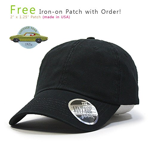 Vintage Year Washed Cotton Twill Low Profile Adjustable Dad Hat Baseball Cap With Free Patch (Black 70P)