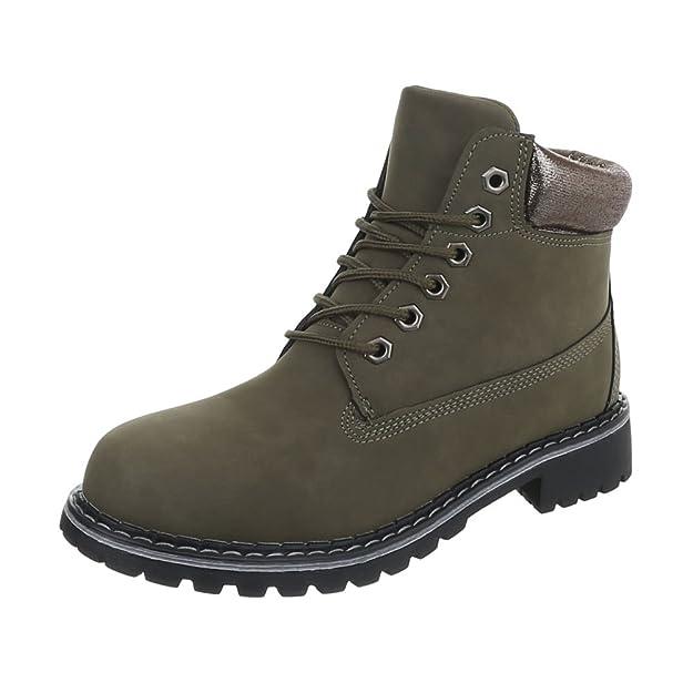 Zapatos para mujer Botas Tacón ancho Botines de cordones Ital-Design: Amazon.es: Zapatos y complementos