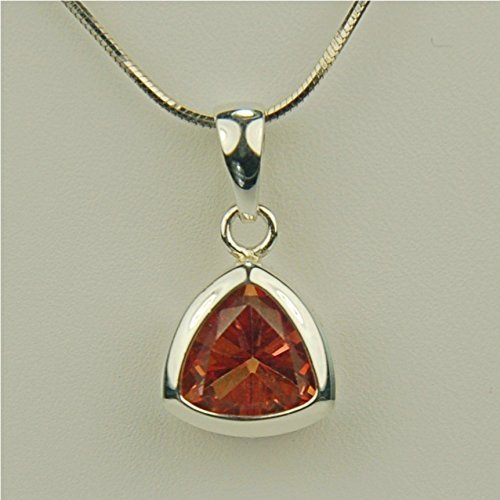 Orange Mystic Topaz Gemstone 10x10mm Trillion Sterling Silver Necklace (Gemstone Trillion Necklace)