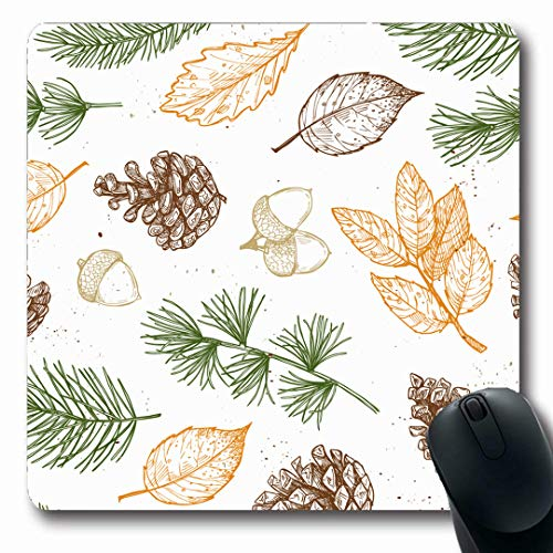 Ahawoso Mousepads November Pinecone Acorn Nature Christmas Pine Forest Tree Winter Wreath Bright Oblong Shape 7.9 x 9.5 Inches Non-Slip Gaming Mouse Pad Rubber Oblong Mat
