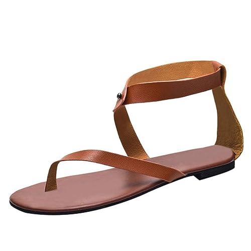 VJGOAL Damen Sandalen, Damen Sommer Römergurt flach Ankle Beach Party  Sandalen Lässige Tanga Schuhe Schuhe 6f7cce9edf