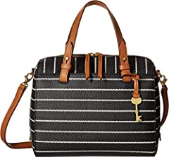 This printed PVC satchel comes with double handles, a detachable crossbody strap and two slide pockets.