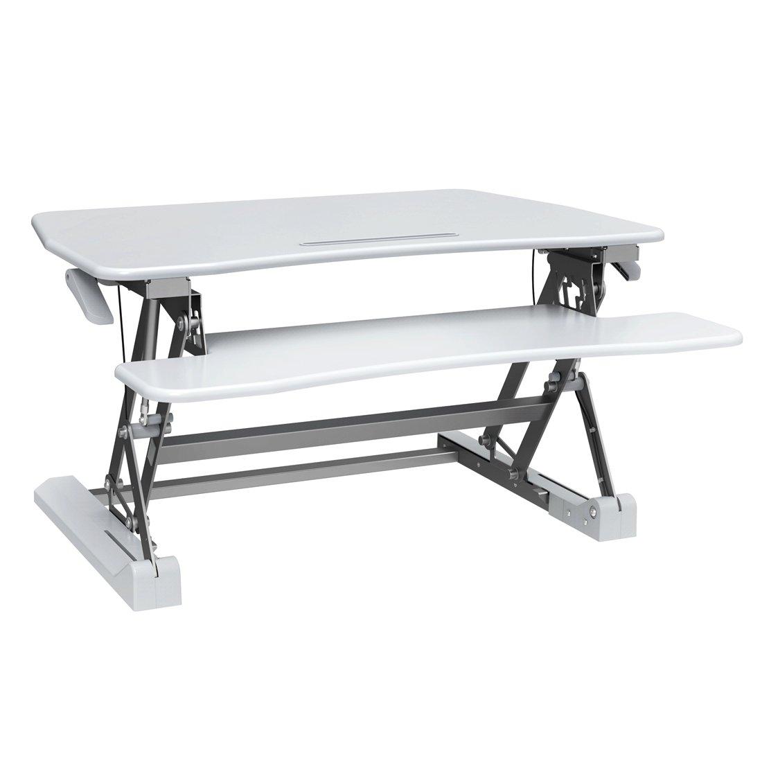 Good Life Height Adjustable Standing Desk 35'' Wide Platform Vertical Converter Riser Stand up Sit Stand Desk Monitor Stand Computer Table White ELC389