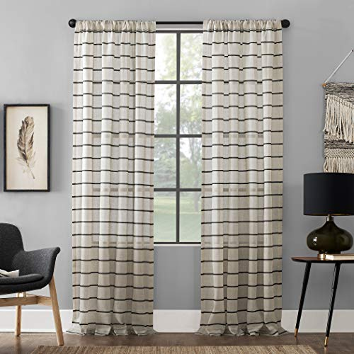 Clean Window Twill Stripe Allergy/Pet Friendly Anti-Dust Sheer Curtain Panel 52