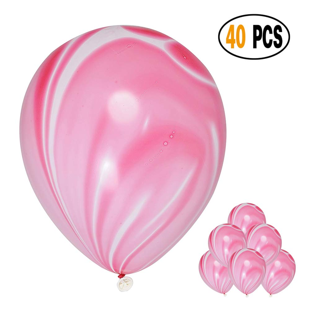DIvine 40 Pcs/lot Black Agate Marble Latex Balloons, Color Marble Tie Dye Swirl Effect Balloons for Wedding Birthday Baby Showers Christmas Festival Ceremony and Party Premium Quality Decoration