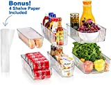 fridge bins and organizers Set of 10 - Stackable refrigerator bins set includes 6 bins for food containers and 4 shelf liners for fridge shelf's