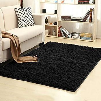 Superbe Junovo Ultra Soft Contemporary Fluffy Indoor Area Rugs, Home Decor Rug Mats  Living Room Bedroom Floor Carpet Rugs (4x5.3 Feet, Black)