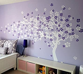 Pop Decors Removable Vinyl Art Wall Decals Mural Cherry Blossom Tree /White/Violet & Amazon.com: Pop Decors Removable Vinyl Art Wall Decals Mural Cherry ...