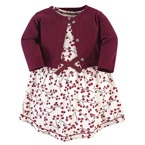 Touched by Nature Girl Baby Organic Cotton Cardigan and Dress, Berry Branch 2 Piece Set, 4 Toddler -