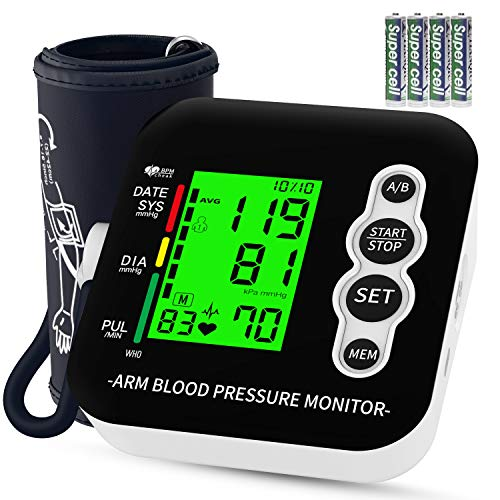 Blood Pressure Monitor, Blood Pressure Machine, Digital Automatic Upper Arm Blood Pressure Monitor and Heart Rate Pulse with Wide-Range Cuff for Home Use, 198 Memories, Three-Color Backlight Display