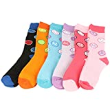 Winter Boot Ski Thick 6 Pairs Smiley Face Crew Ladies Mid Calf Socks Cotton Set