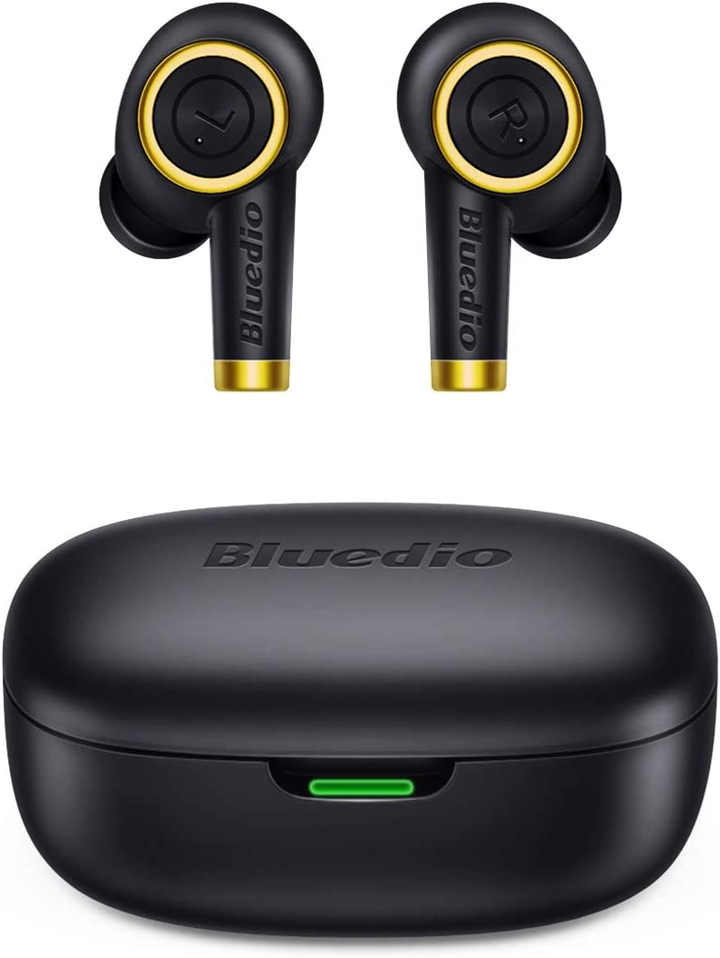 Bluetooth Wireless Earbuds, Bluedio P(Particle) TWS Wireless Earbud Headphones in-Ear Earphones with Charging Case, Mini Car Headset Built-in Mic for Cell Phone/Running/Android, 6Hrs Playtime