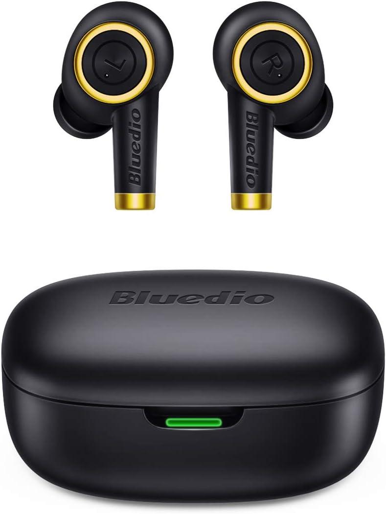 Bluedio Particle TWS - Auriculares de bajo latencia Bluetooth 5.0 impermeables con caja de carga
