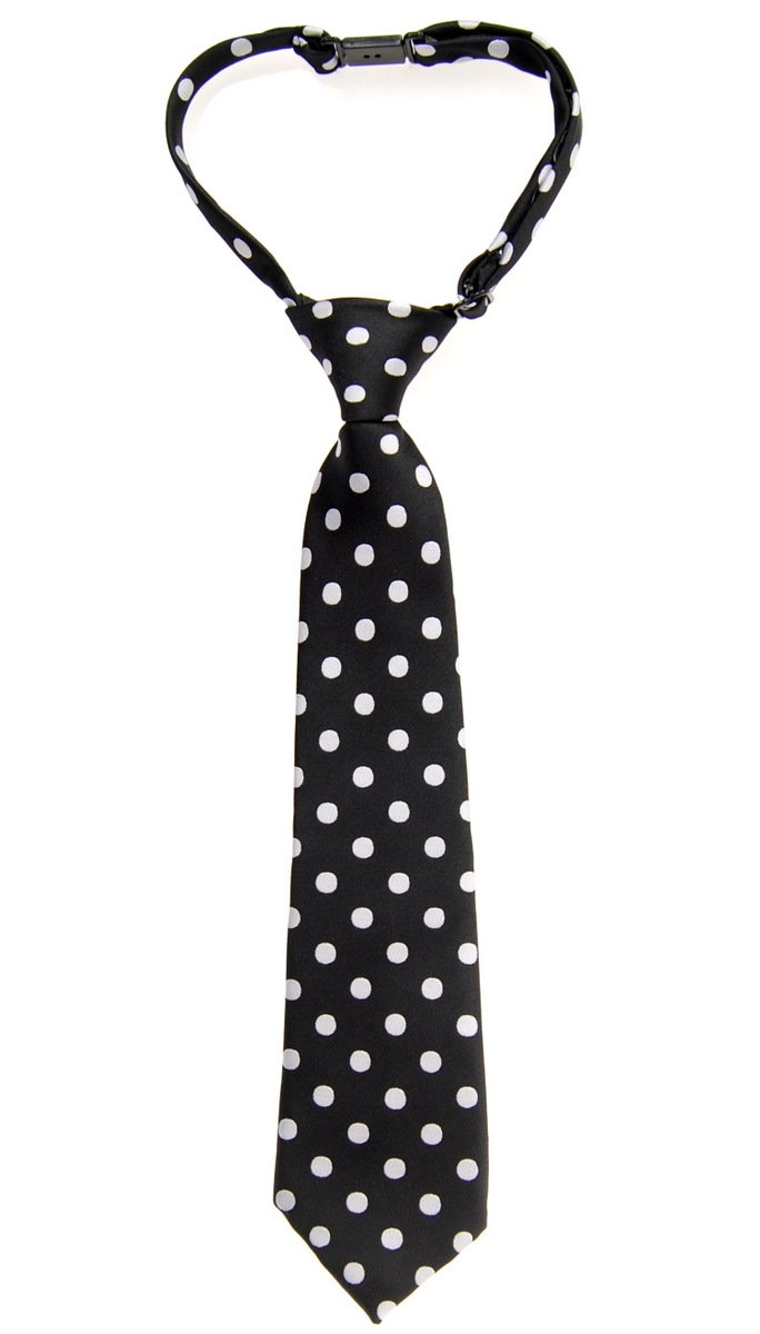 Retreez Classic Polka Dots Woven Microfiber Pre-tied Boy's Tie - Black with White Dots - 4 - 7 years