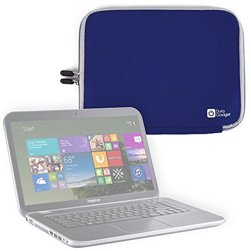 - DURAGADGET Blue Water Resistant Neoprene Laptop Cover with Dual Zips - Compatible with Dell Inspiron 15R HD
