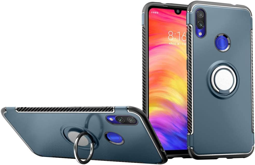 Dark Blue Case for Xiaomi Redmi Note 7 DWaybox Hybrid Back Case with 360 Degree Rotation Ring Holder for Xiaomi Redmi Note 7//Redmi Note 7 Pro 6.3 Inch Compatible with Magnetic Car Mount Holder