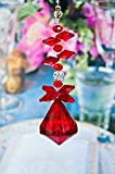 Set of 2 Crystal Diamond Ceiling Lighting Fan Pulls Chain - Red