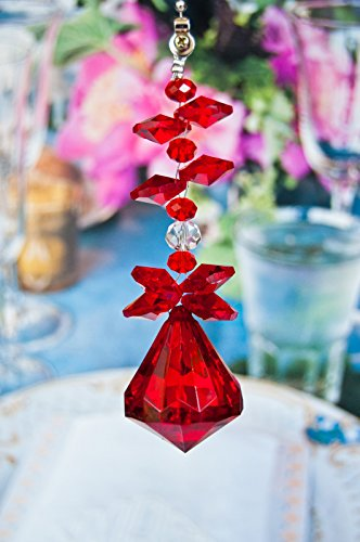 Set of 2 Crystal Diamond Ceiling Lighting Fan Pulls Chain - Red by Blessing Light