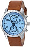Relic Men's 'Simon' Quartz Stainless Steel and Leather Casual Watch, Color:Brown (Model: ZR15923)